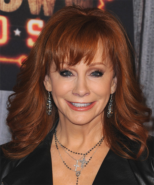 Reba McEntire Long Wavy   Dark Copper Red   Hairstyle with Layered Bangs