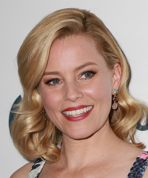 Elizabeth Banks Medium Wavy Formal    Hairstyle   - Golden Hair Color