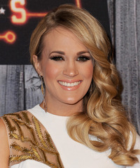 Carrie Underwood Long Wavy Formal    Hairstyle   - Dark Golden Blonde Hair Color