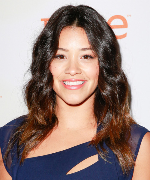 Gina Rodriguez Long Wavy Casual    Hairstyle   - Dark Auburn Brunette Hair Color