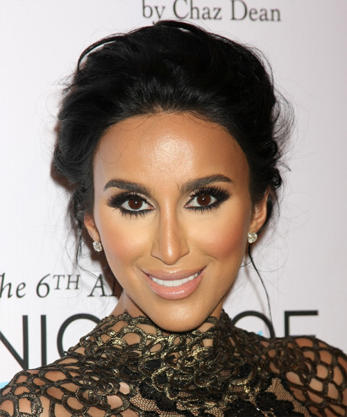Lilly Ghalichi Long Wavy Formal Wedding Updo Hairstyle   - Black