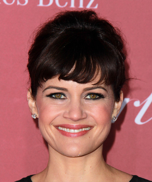 Carla Gugino Long Wavy Formal  Updo Hairstyle