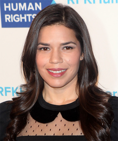 America Ferrera Long Straight Formal    Hairstyle   - Dark Mocha Brunette Hair Color