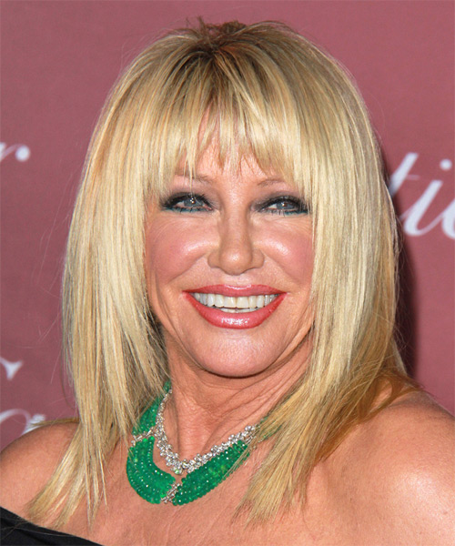 Suzanne Somers Medium Straight Hairstyle for Round Face Shapes.