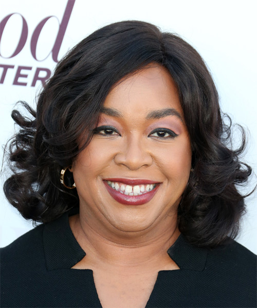 Shonda Rhimes Medium Wavy Formal    Hairstyle   - Black  Hair Color