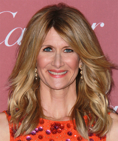 Laura Dern Long Wavy Casual    Hairstyle with Side Swept Bangs  - Dark Blonde Hair Color