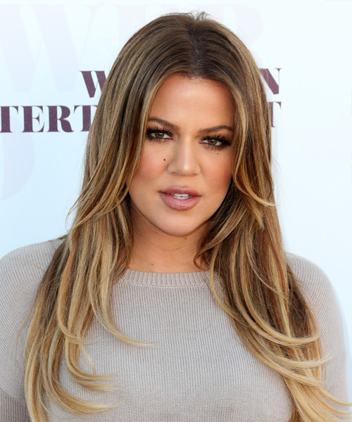 Khloe Kardashian Long Straight    Caramel Brunette   Hairstyle   with Light Blonde Highlights