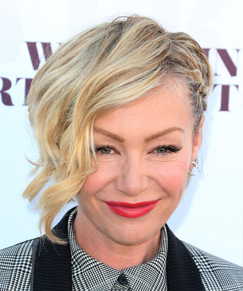 Portia De Rossi Short Wavy Formal   Half Up Hairstyle   - Light Blonde Hair Color