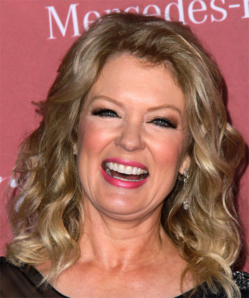 Mary Hart Medium Wavy Casual   Hairstyle   - Medium Blonde