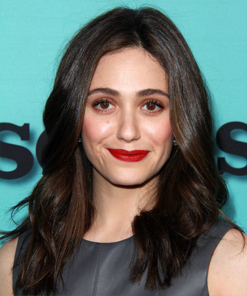 Emmy Rossum Medium Wavy Casual   Hairstyle   - Dark Brunette