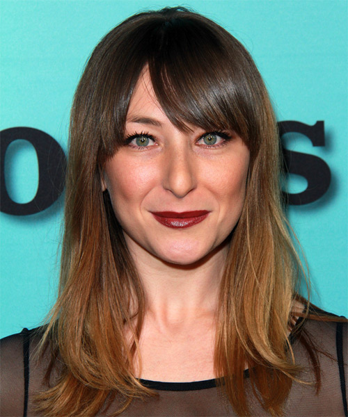 Isidora Goreshter Long Straight Swag Hairstyle.