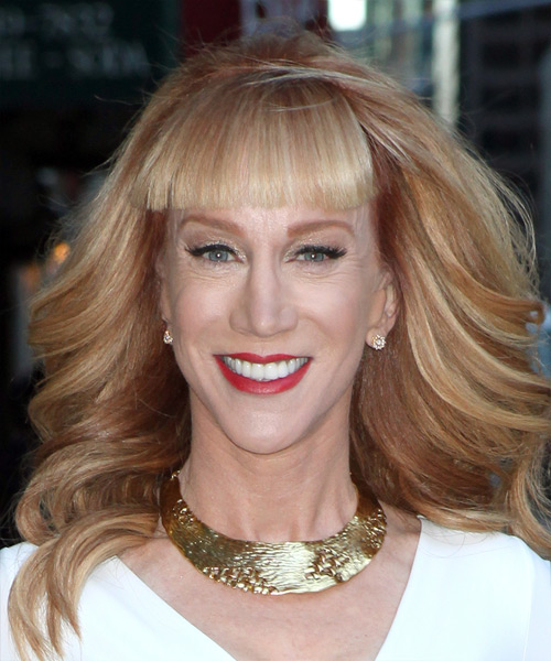 Kathy Griffin Long Wavy Formal    Hairstyle with Blunt Cut Bangs  -  Copper Blonde Hair Color
