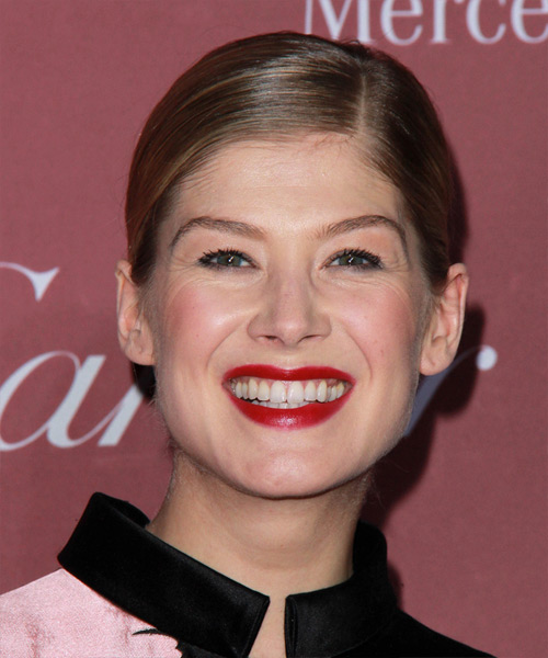 Rosamund Pike Long Straight Formal   Updo Hairstyle   -  Chestnut Brunette Hair Color
