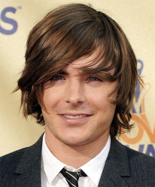 Zac Efron Medium Straight Casual   Hairstyle with Side Swept Bangs  - Dark Brunette