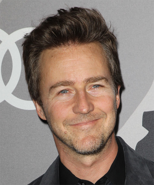 Edward Norton Short Straight Casual    Hairstyle   - Dark Brunette Hair Color