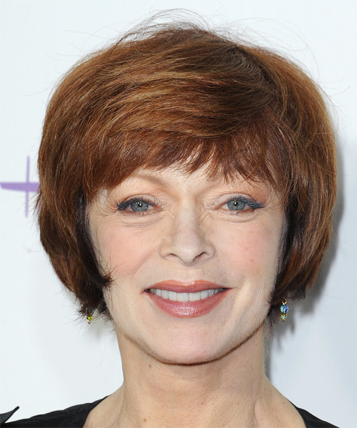 Frances Fisher Short Straight Formal    Hairstyle   - Light Auburn Brunette Hair Color