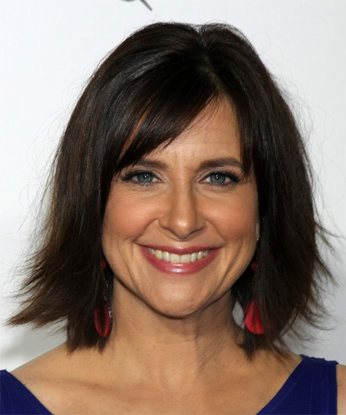 Kellie Martin Medium Straight Casual   Hairstyle with Side Swept Bangs  - Dark Brunette