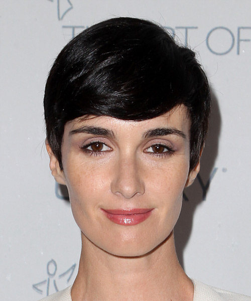 Paz Vega Short Straight Formal   Hairstyle with Side Swept Bangs  - Black