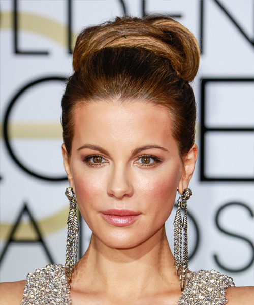 Kate Beckinsale Long Straight Formal Wedding Updo Hairstyle   - Medium Brunette