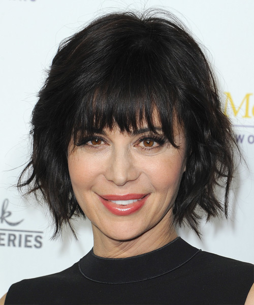 Catherine Bell Medium Straight Casual   Hairstyle with Layered Bangs  - Black