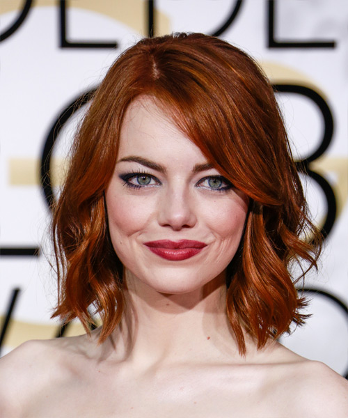 Emma Stone Medium Wavy Casual   Hairstyle   - Dark Red (Ginger)