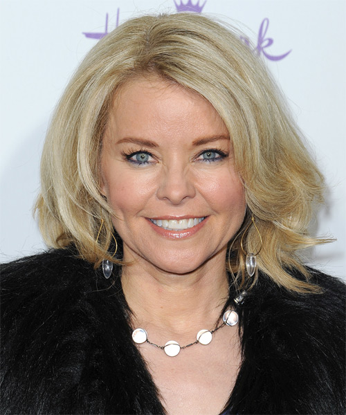 Kristina Wagner Medium Straight Formal    Hairstyle   - Light Blonde Hair Color