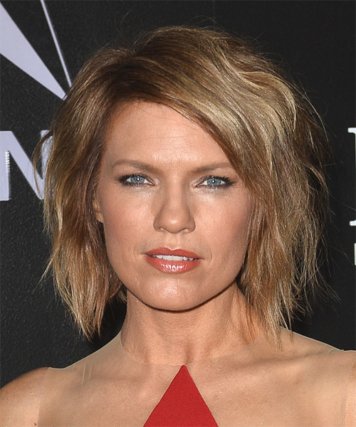 Kathleen Rose Perkins Medium Straight Casual    Hairstyle   - Light Caramel Brunette Hair Color with  Blonde Highlights