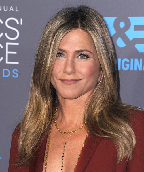 Jennifer Aniston Long Straight   Light Chestnut Brunette   Hairstyle   with Light Blonde Highlights