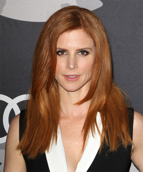 Sarah Rafferty Long Straight Casual    Hairstyle   - Dark Ginger Red Hair Color