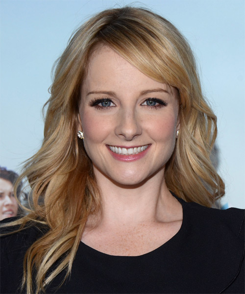 Melissa Rauch Long Wavy Casual    Hairstyle with Side Swept Bangs  -  Copper Blonde Hair Color with Light Blonde Highlights