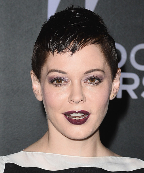 Rose McGowan Short Straight Casual    Hairstyle   - Black  Hair Color