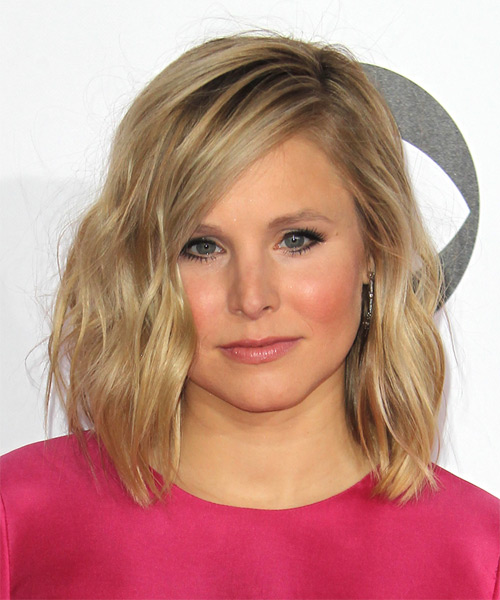 Kristen Bell Medium Wavy Casual    Hairstyle   - Dark Blonde Hair Color with Light Blonde Highlights