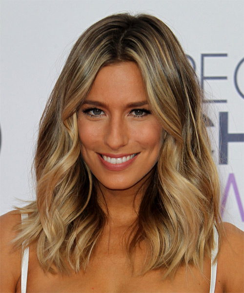 Renee Bargh Long Wavy Casual    Hairstyle   - Dark Blonde Hair Color with Light Blonde Highlights