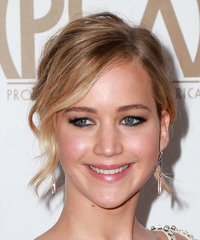 Jennifer Lawrence Medium Wavy   Light Caramel Brunette  Updo    with Light Blonde Highlights