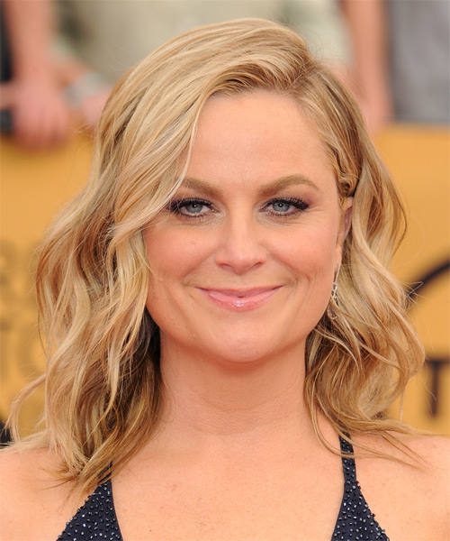 Amy Poehler Medium Wavy Casual    Hairstyle   -  Copper Blonde Hair Color with Light Blonde Highlights