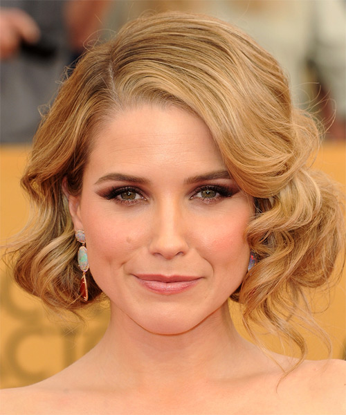 Sophia Bush Medium Wavy Formal    Hairstyle   -  Copper Blonde Hair Color with Light Blonde Highlights