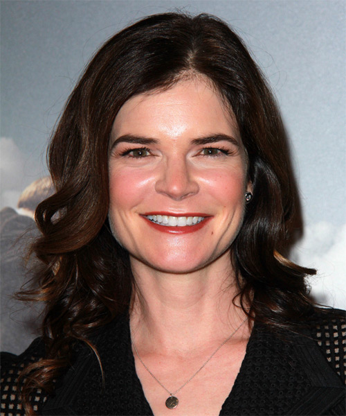 Betsy Brandt Long Wavy Formal    Hairstyle   - Dark Brunette Hair Color