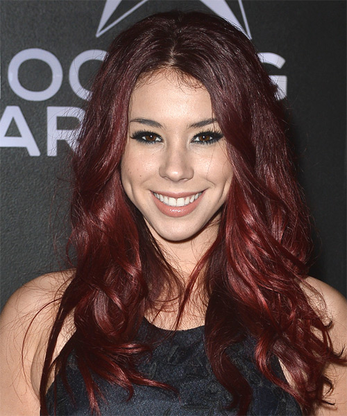Jillian Rose Reed Long Wavy Casual    Hairstyle   - Burgundy Hair Color