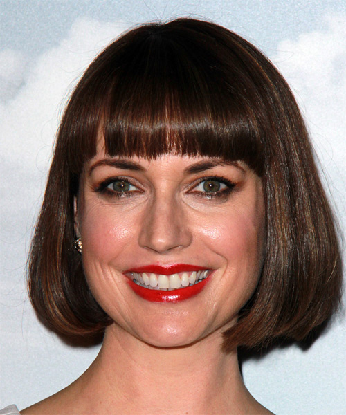 Julie Ann Emery Medium Straight Formal  Bob  Hairstyle with Blunt Cut Bangs  -  Brunette Hair Color