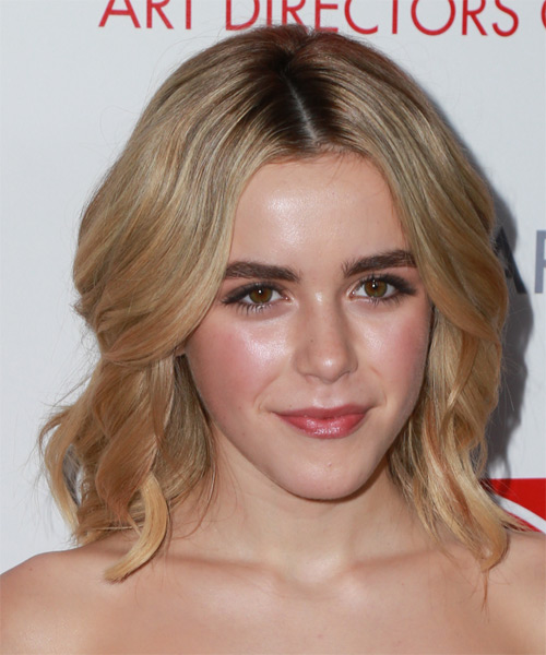 Kiernan Shipka Medium Wavy Formal    Hairstyle   -  Copper Blonde Hair Color with Light Blonde Highlights