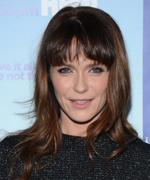 Katie Aselton Long Straight Casual    Hairstyle with Blunt Cut Bangs  -  Brunette Hair Color