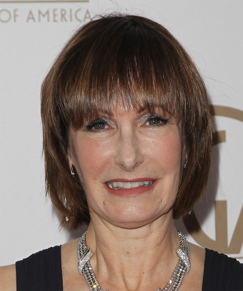 Gale Anne Hurd Medium Straight Casual   Hairstyle with Blunt Cut Bangs  - Medium Brunette