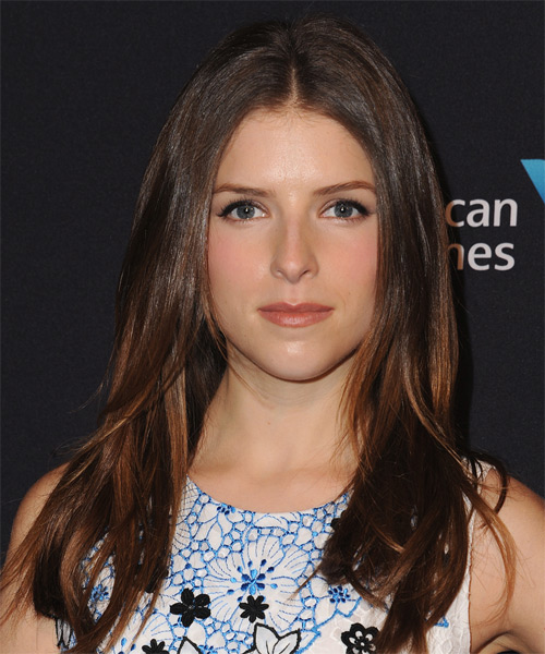 Anna Kendrick Long Straight Casual   Hairstyle   - Dark Brunette