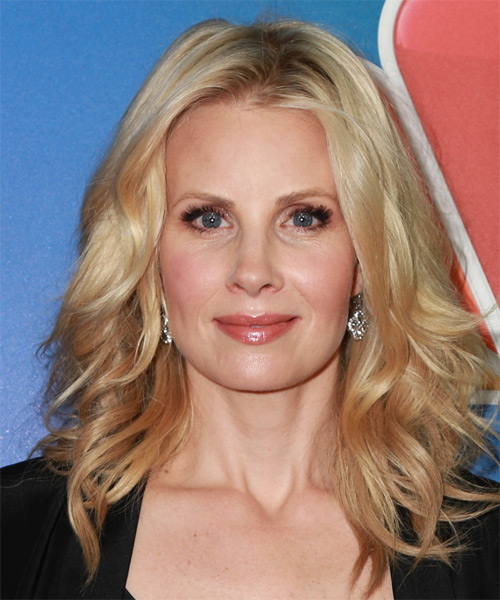 Monica Potter Long Wavy Casual    Hairstyle   -  Strawberry Blonde Hair Color