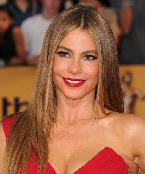 Sofia Vergara Long Straight Hairstyle - heart face shape