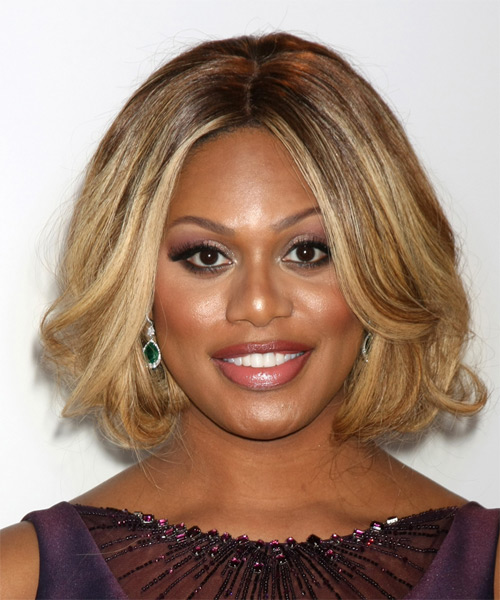 Laverne Cox Medium Straight Formal    Hairstyle   - Dark Blonde Hair Color with Light Blonde Highlights