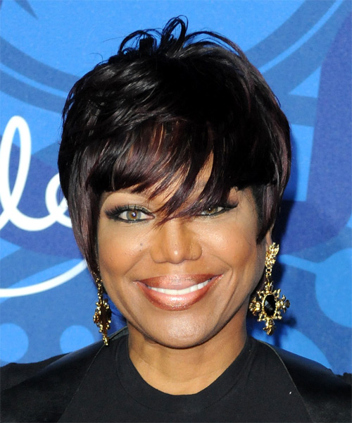 Michelle Toussant Short Straight Formal    Hairstyle   - Black  Hair Color with  Red Highlights