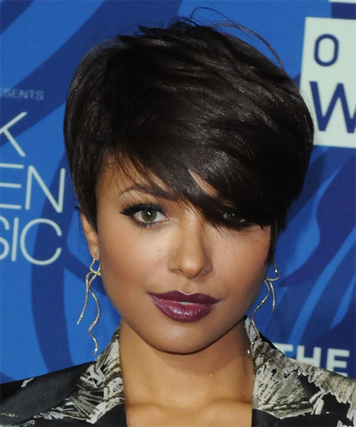 Kat Graham Short Straight Formal    Hairstyle with Side Swept Bangs  - Dark Brunette Hair Color