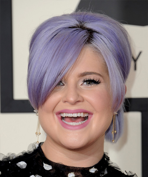 Kelly Osbourne Medium Straight Formal  Updo Hairstyle with Side Swept Bangs