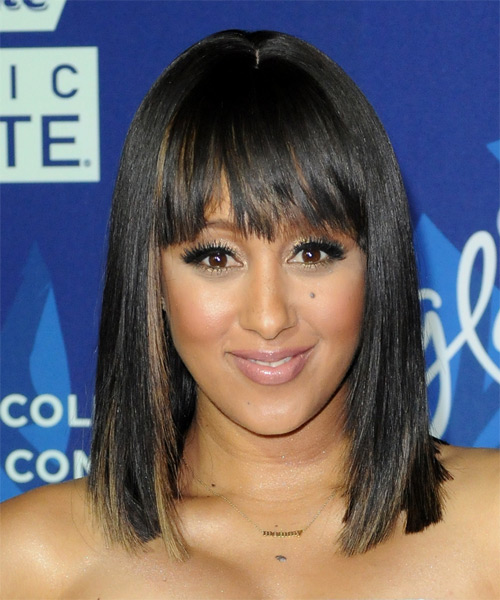 Tamera Mowry Medium Straight Layered  Black  Bob  Haircut   with  Brunette Highlights
